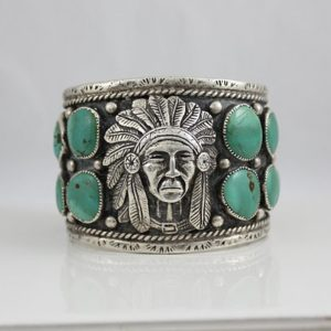Navajo Sterling and Turquoise Chiefs Head Bracelet